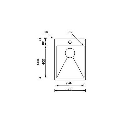 """012042 cm lavello inox minox 3"""" 24x50x14 filo raggiato incasso slim"""
