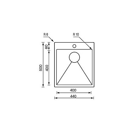 """012043 cm lavello inox minox 3"""" 24x50x14 filo raggiato incasso slim"""