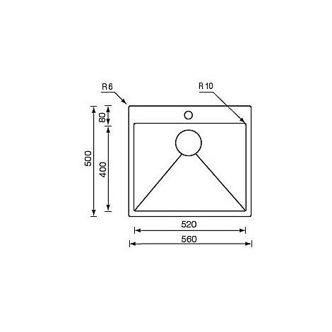 """012044 cm lavello inox minox 3"""" 56x50 filo raggiato incasso slim"""