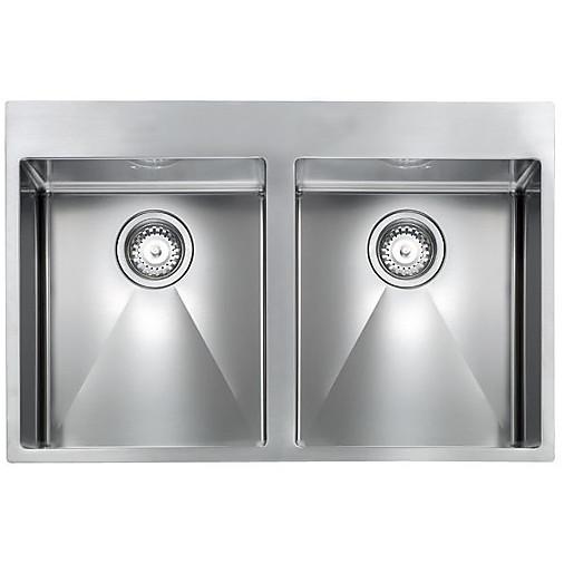 """012048 cm lavello inox filo rag minox 3"""" 76x50x19 2 vasche incasso slim con piletta automatica"""