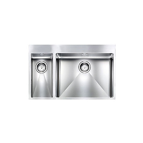 """012049 cm lavello inox filo rag minox 3"""" 80x50x19 2 vasche a dx incasso slim con piletta automatica"""