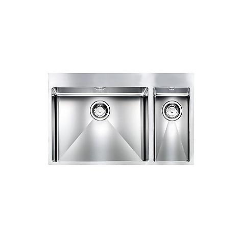 """012049 cm lavello inox filo rag minox 3"""" 80x50x19 2 vasche a sx incasso slim con piletta automatica"""