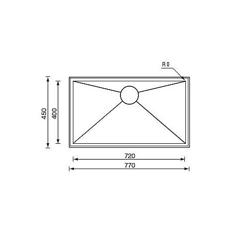 "012246 cm lavello inox filo quadra std 3"" 77x45x19 incasso"