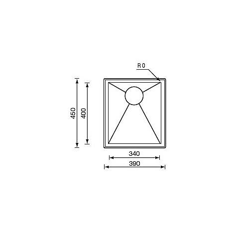 "012247 cm lavello inox filo quadra std 3"" 39x45x5 incasso"
