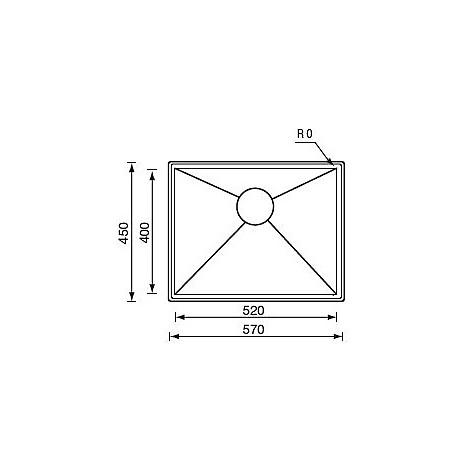 "012248 cm lavello inox filo quadra std 3"" 57x45x19 incasso"