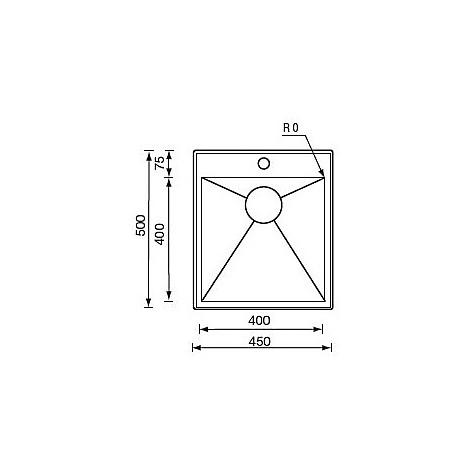 "012261 cm lavello inox filo quadra minox std 3"" 45x50x19  incasso"