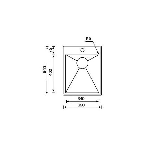 "012264 cm lavello inox filo quadra minox std 3"" 39x50x19  incasso"