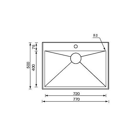 "012266 cm lavello inox filo quadra minox std 3"" 77x50x19  incasso"