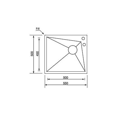 """012860 cm lavello inox space 3"""" 55x50x19 dx incasso slim con piletta automatica"""