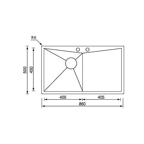 """012863 cm lavello inox space 3"""" 86x50 1 vasca a destra con piletta automatica"""