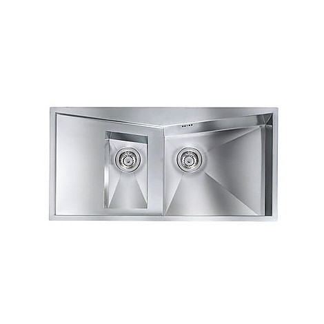 """012865 cm lavello inox space 3"""" 100x50 2 vasche a destra con piletta automatica"""
