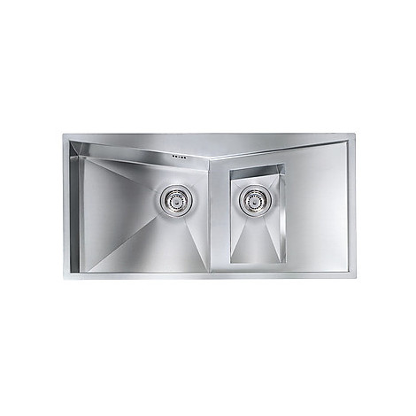 """012865 cm lavello inox space 3"""" 100x50 2 vasche a sinistra con piletta automatica"""