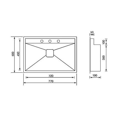 """012903 cm lavello inox ariel 3"""" 77x50x19 sottotop con piletta automatica"""