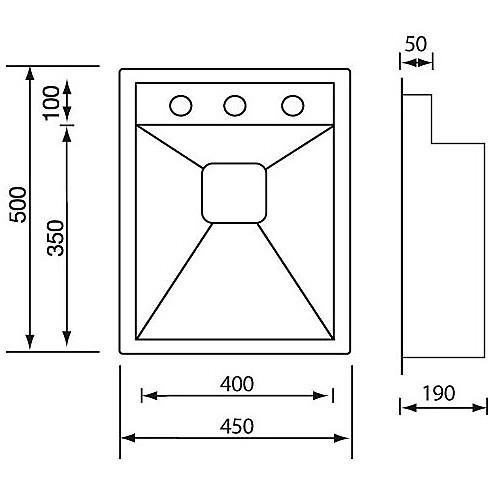 """012911 cm lavello inox ariel 3"""" 39x50x19 incasso slim con piletta automatica"""