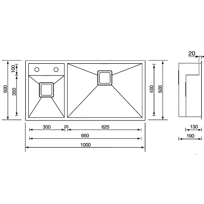 "012916 cm lavello inox ariel 3"" 100x50 2 vasche a destra"