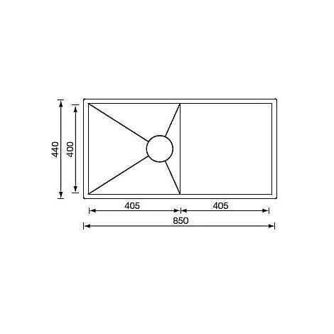 """012920 cm lavello inox filo quadra 3"""" 85x44 1 vasca sottotop"""