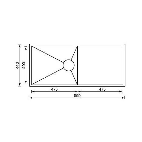 """012921 cm lavello inox filo quadra 3"""" 99x44 1 vasca sottotop"""