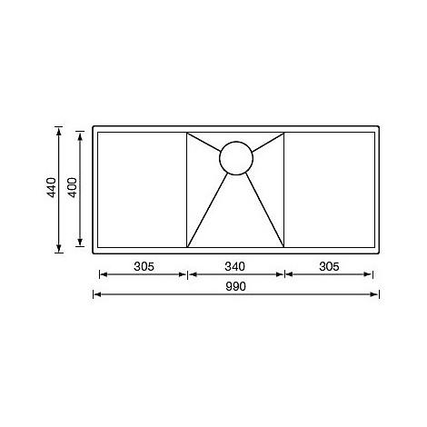"""012922 cm lavello inox filo quadra 3"""" 99x44 2 vasche sottotop"""