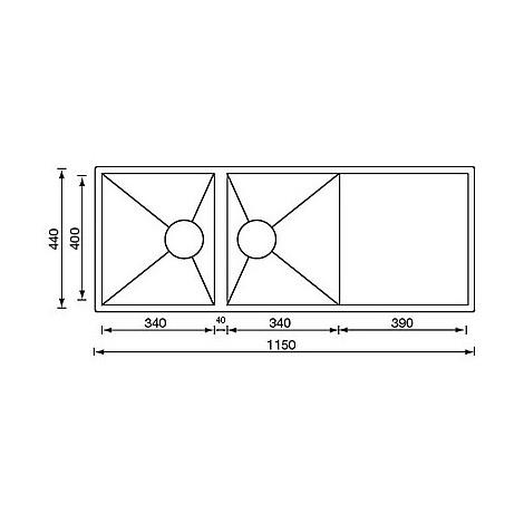 """012923 cm lavello inox filo quadra 3"""" 115x44 2 vasche sottotop"""