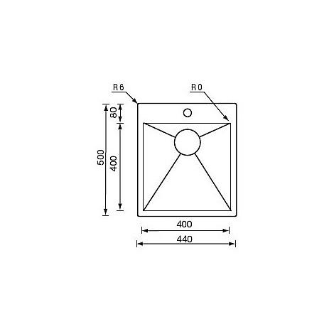 "012931 cm lavello inox filo quadra minox 3"" 44x50x19  incasso slim"