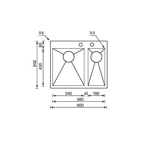 "012932 cm lavello inox filo quadra minox 3"" 60x50x19 2 vasche a dx incasso slim piletta auto"