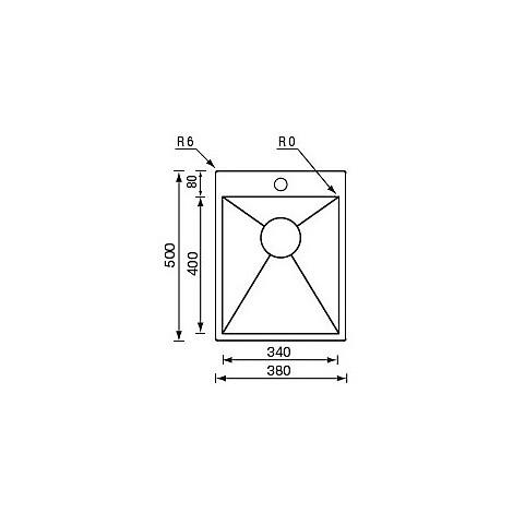 "012934 cm lavello inox filo quadra minox 3"" 38x50x19  incasso slim"