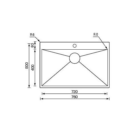 "012936 cm lavello inox filo quadra minox 3"" 76x50x19  incasso slim"