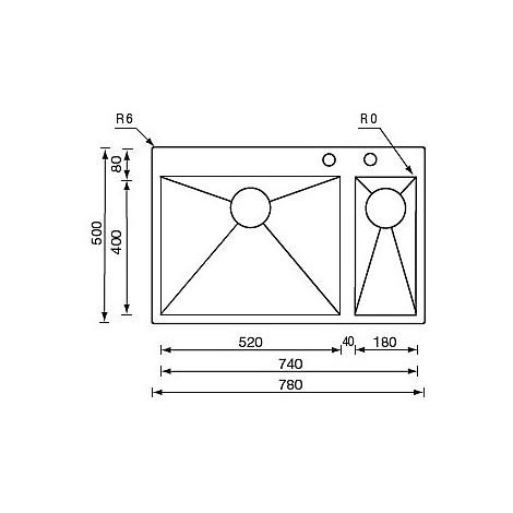"012937 cm lavello inox filoquadra minox 3"" 78x50x19/13 2 vasche a sx incasso slim pilet auto"