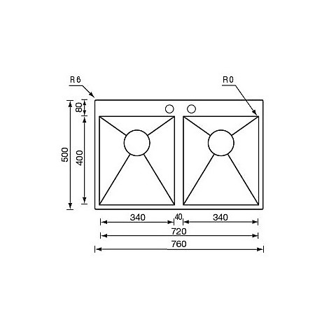 "012939 cm lavello inox filo quadra minox 3"" 76x50x19 2 vasche incasso slim piletta auto"