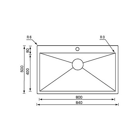 "012940 cm lavello inox filo quadra minox 3"" 84x50x19  incasso slim"