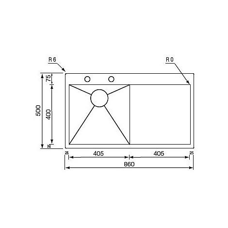 """012960 cm lavello inox filo quadra minox 3"""" 86x50 1 vasca a dx incasso slim con piletta automatica"""