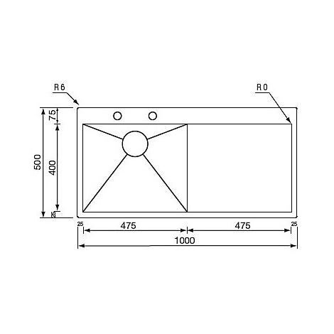 """012961 cm lavello inox filo quadra minox 3"""" 100x50 1 vasca a sx incasso slim con piletta automatica"""