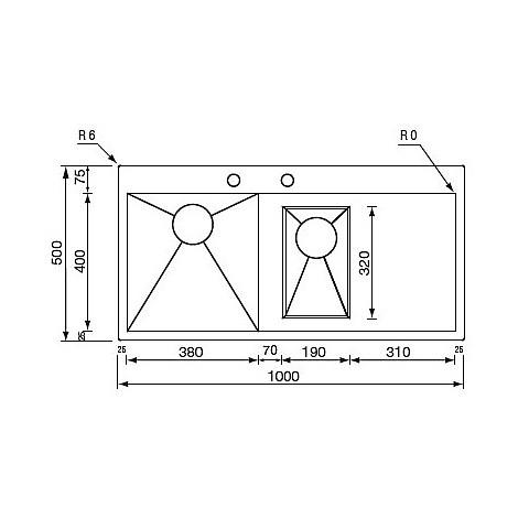 "012962 cm lavello inox filo quadra minox 3"" 100x50 2 vasche a sx vasche 380/190 incasso slim"