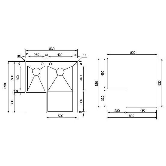 """012968 cm lavello inox filo quadra minox 3"""" angolo 83x83 2 vasche a destra incasso slim"""