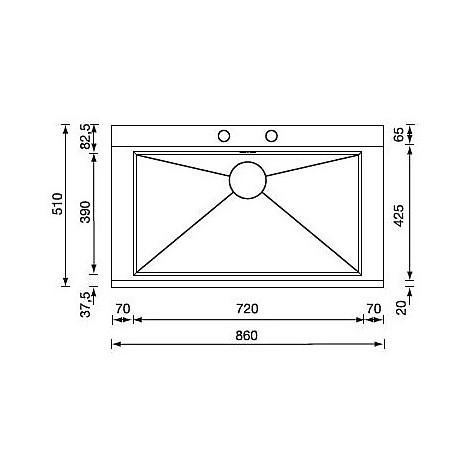 """012972 cm lavello inox anthea radius 3"""" 86x51 1 vasca unica 2 fori con pilietta automatica"""