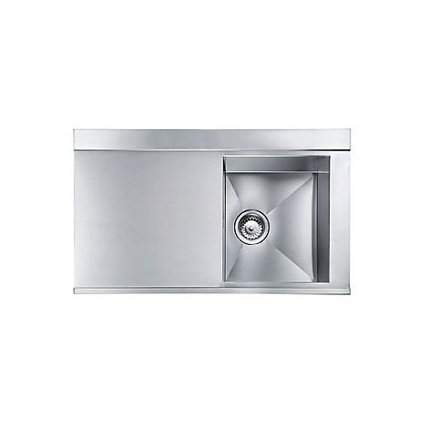 """012973 cm lavello inox anthea radius 3"""" 86x51 1 vasca a destra 2 fori con pilietta automatica"""