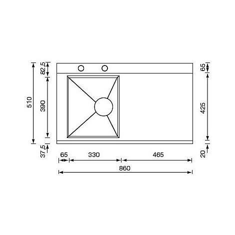"""012973 cm lavello inox anthea radius 3"""" 86x51 1 vasca a sinistra 2 fori con pilietta automatica"""