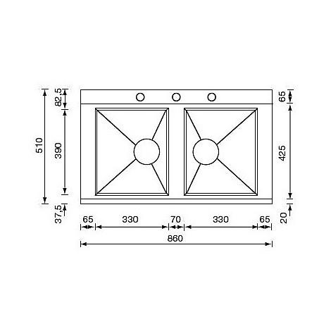 """012974 cm lavello inox anthea radius 3"""" 86x51 2 vasche 3 fori con pilietta automatica"""