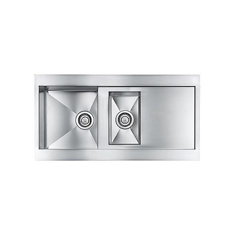 """012985 cm lavello inox revers 3"""" 100x52 2 vasche 2fori r con piletta automatica"""