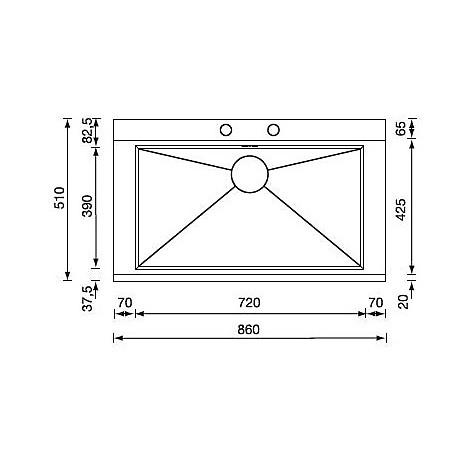 """012992 cm lavello inox anthea 3"""" 86x51 1 vasca unica 2 fori con pilietta automatica"""