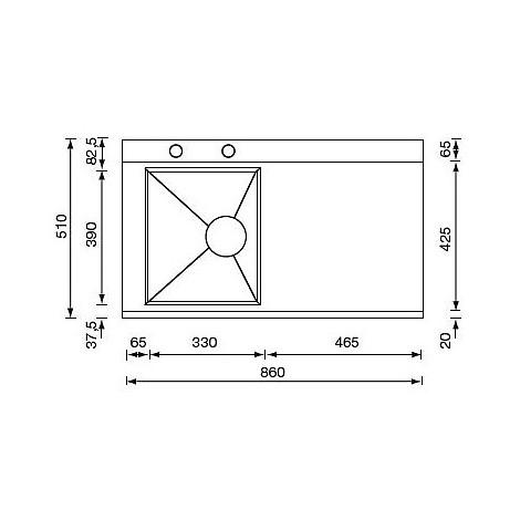 """012993 cm lavello inox anthea 3"""" 86x51 1 vasca a sinistra 2 fori con pilietta automatica"""