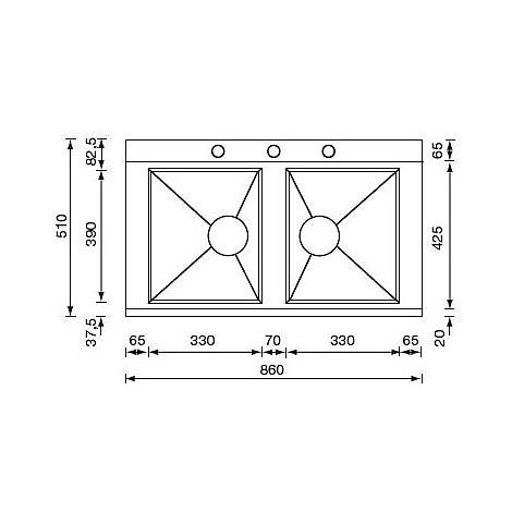 """012994 cm lavello inox anthea 3"""" 86x51 2 vasche 3 fori con pilietta automatica"""