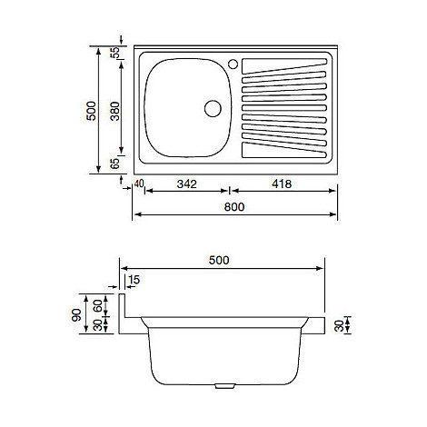 031031 cm lavello inox mondial 80x50 1 vasca a destra