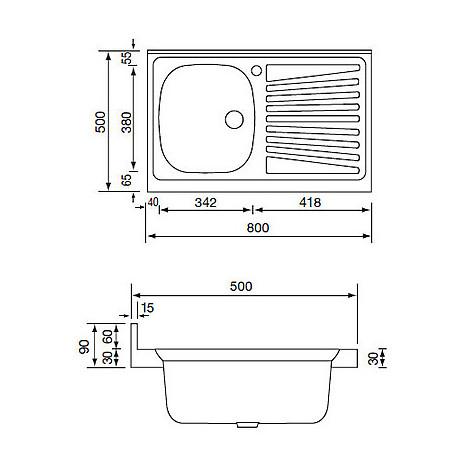 031031 cm lavello inox mondial 80x50 1 vasca a sinistra