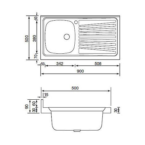 031033 cm lavello inox mondial 90x50 1 vasca a destra