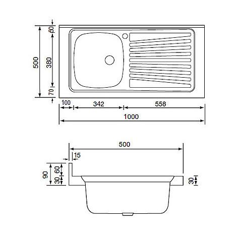 031035 cm lavello inox mondial 100x50 1 vasca a sinistra