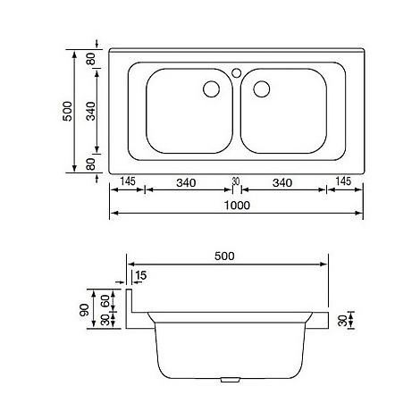 031036 cm lavello inox mondial 100x50 2 vasche