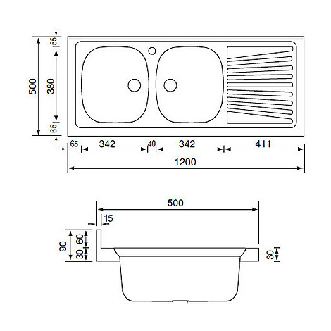 031037 cm lavello inox mondial 120x50 2 vasche a sinistra