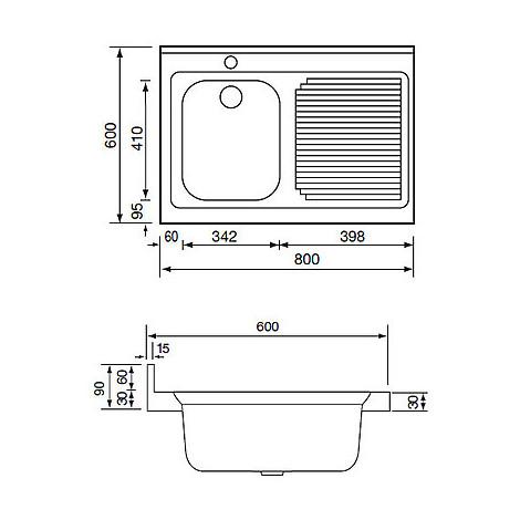 031131 cm lavello inox rossana 80x60 1 vasca a destra