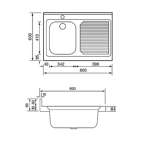 031131 cm lavello inox rossana 80x60 1 vasca a sinistra